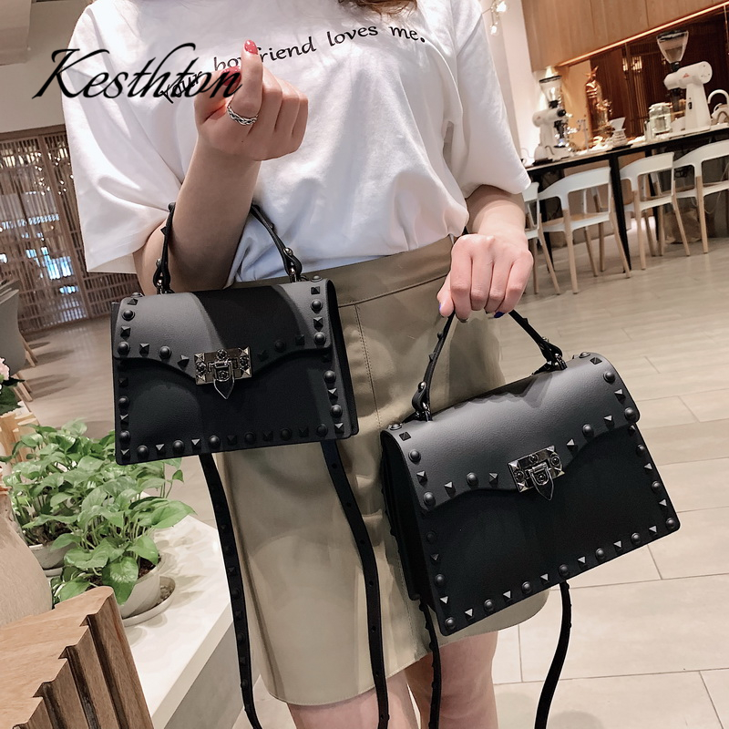 PVC Hard Rivet Female Handbags 2019 New Black Red Green Candy Color Young Girls Single Shoulder Bags Brand Women Crossbody Bags