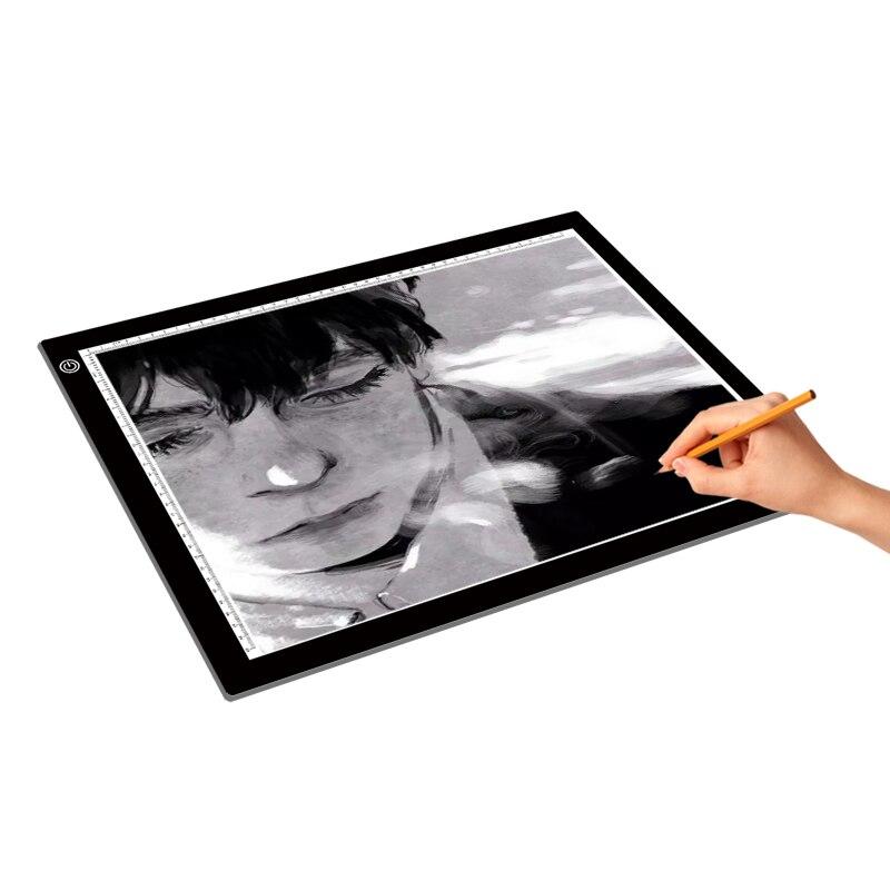 Boîte à lumière LED traçage A3 copie tableau peinture écriture tableau numérique dessin graphique tablette trois niveaux variateur LED boîte à lumière Pad