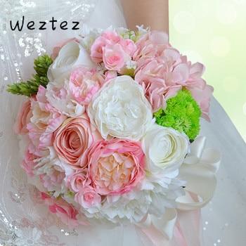 Bridal Bouquet Flowers Rose Ribbon Wedding Bouquet Bride Holding Flower PE Rose Bridesmaid Wedding D465