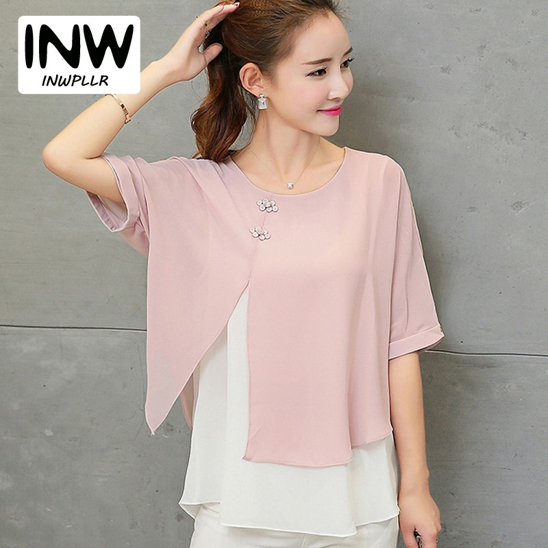 c9136d1b60e New Fashion 2018 Summer Loose Blouse Women Chiffon Blouses Shirts Batwing  Sleeve Two Layer Ladies Tops Plus size Blusas Feminino