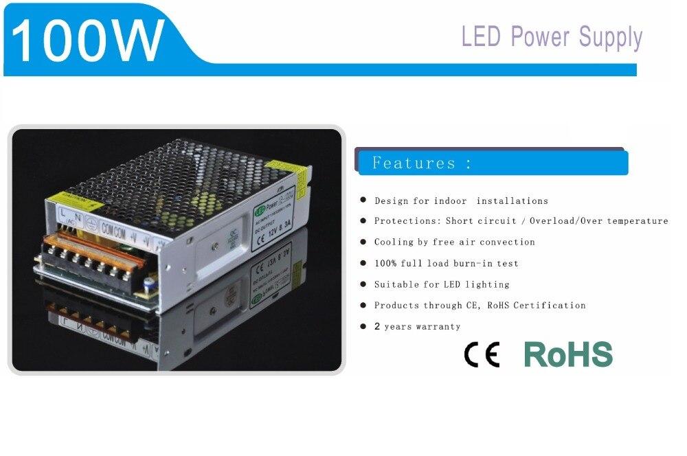 100W Aluminum Shell Lighting Transformer 12V 24V Switching Power Supply For LED strip LED module LED point light source etc.