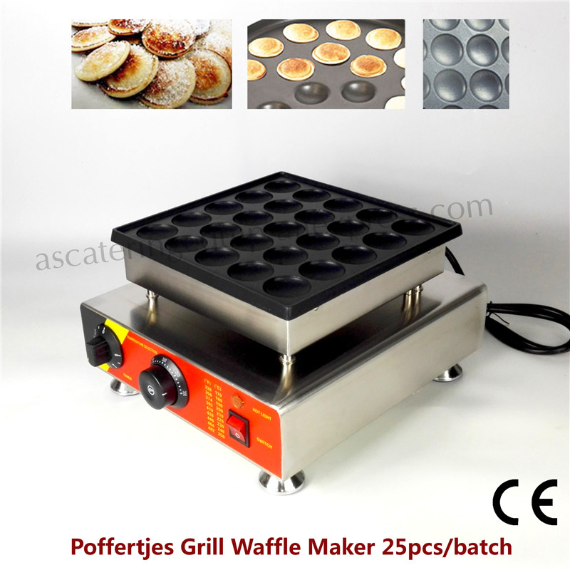 Electric Poffertjes Grill 25 pcs Holland Mini Pancake Maker Waffle Baker Nonstick Pan double pans small pancake machine poffertjes machine with non stick pan poffertjes grill waffle maker with 50 pcs moulds