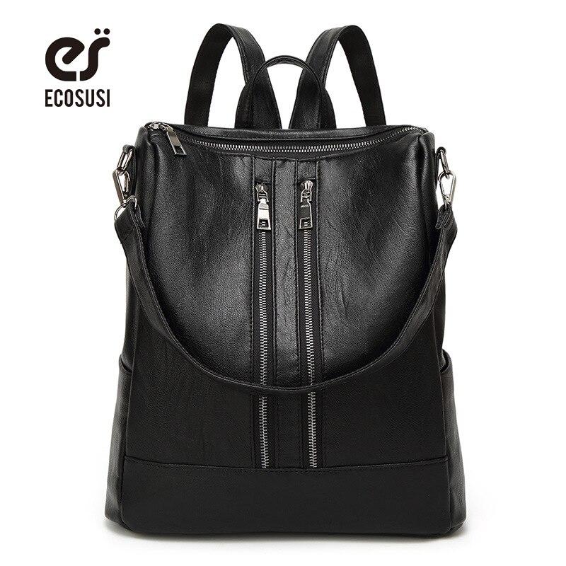 ECOSUSI New Fashion Women PU Leather Backpack Casual School Bag Teenager Travel Back Pack Mochila Escolar
