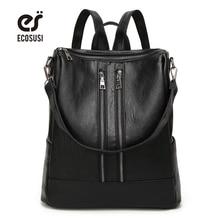 Ecosusi Новая мода Дамские туфли из PU искусственной кожи рюкзак повседневная школьная сумка подросток дорожная Back Pack Mochila Escolar женские сумки на плечо