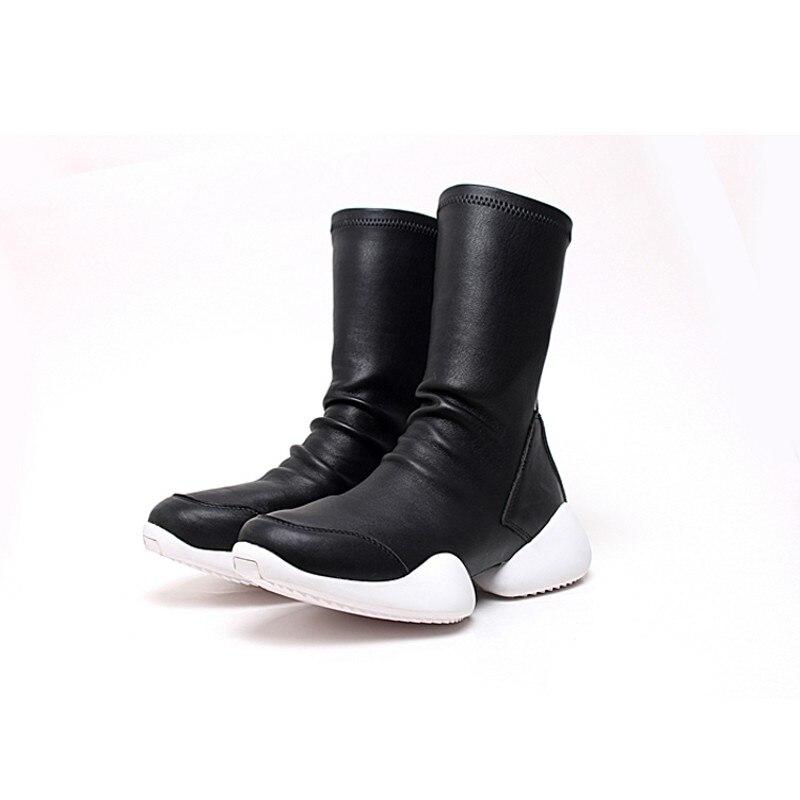 Homens Meia Sapatos Mid Calf Botas Flock Equitação Formadores De Luxo Amantes de Inverno Sapatilhas Ocasionais Apartamentos Sapatos Plus Size Preto 45 botas - 2