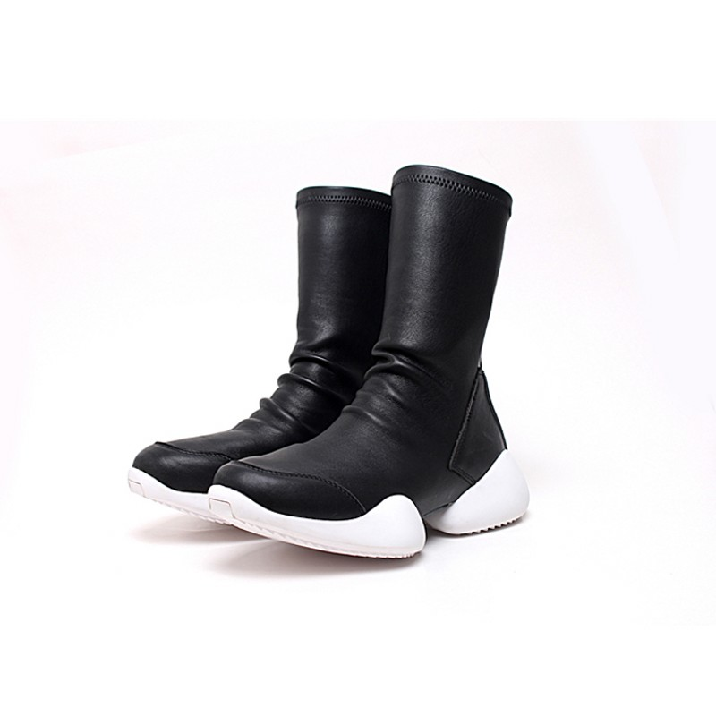 Men Sock Shoes Mid Calf Boots Flock Luxury Trainers Riding Winter Casual Sneakers Lovers Flats Shoes Black Plus Size 45 Boots - 2