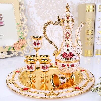 Русский талисман Серебряный бежевый золотой белый и красные розы стеклянный белый горшок металлический винный стеклянный набор мебели укр