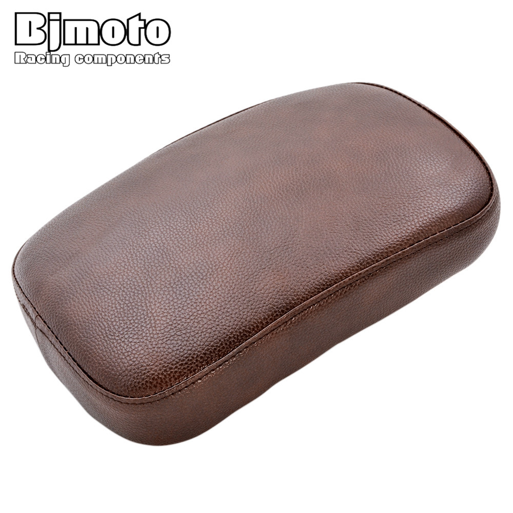 BJMOTO Brown Motorcycle Pillion Rear Passenger Cushion Pillion Seat Pad 6 Suction Cups F ...