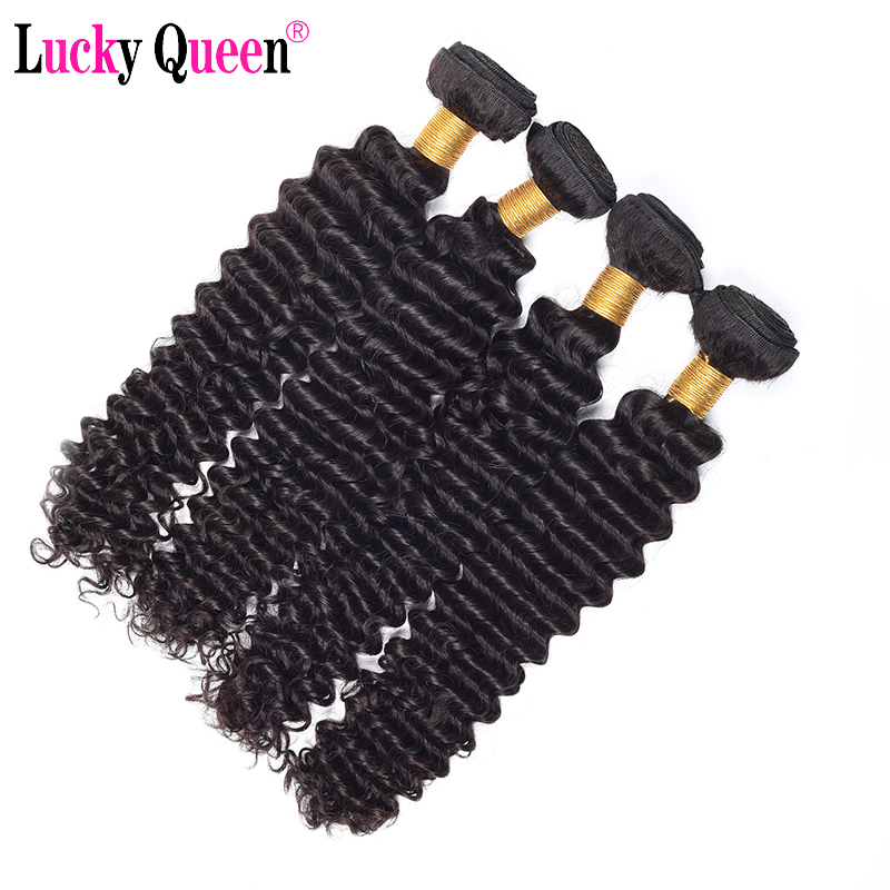 "Image 4 - Indian Deep Wave 100% Human Hair Bundles 8"" 28"" Natural Color 1PC Remy Hair Free Shipping Lucky Queen Hair Products-in Hair Weaves from Hair Extensions & Wigs"