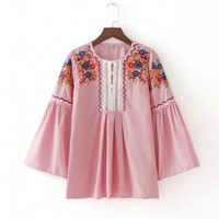 Women Floral Embroidery Strip Blouse Full Cotton Three Quarter Flare Sleeve Loose Shirts Fashion Streetwear Tops