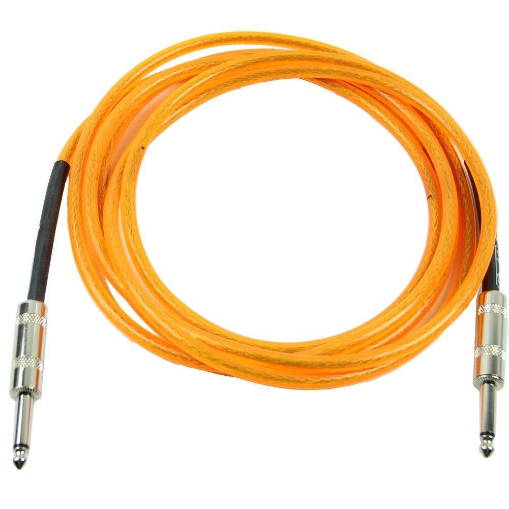 5pcs 3M Orange Guitar Cable Amplifier Amp Instrument Lead Cord