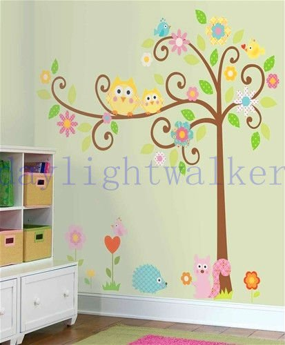 150x160cm retail/wholesale + free shipping home decor owl & scroll tree wall sticker