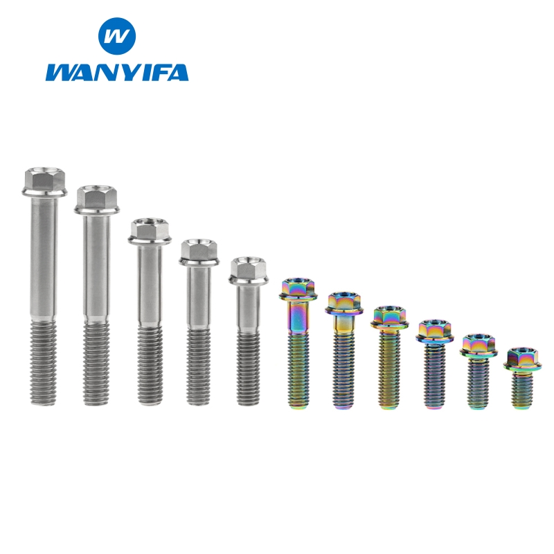 Wanyifa Titanium Bolt Screw <font><b>M8x15</b></font> 20 25 30 35 40 45 50 55 60 65mm Small Flange Head for Bicycle Brake Titanium Rainbow Color image