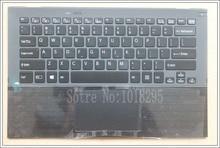 """ארה""""ב מקלדת מחשב נייד עבור Sony Vaio Pro13 SVP13 SVP132 SVP13A SVP1321M2EB SVP1322M1EB SVP132A1CM תאורה אחורית touchpad Palmrest מקרה"""