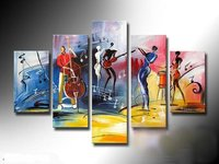The African Impression 100 Handmade Modern Music Abstract People Oil Painting On Canvas Wall Art Top