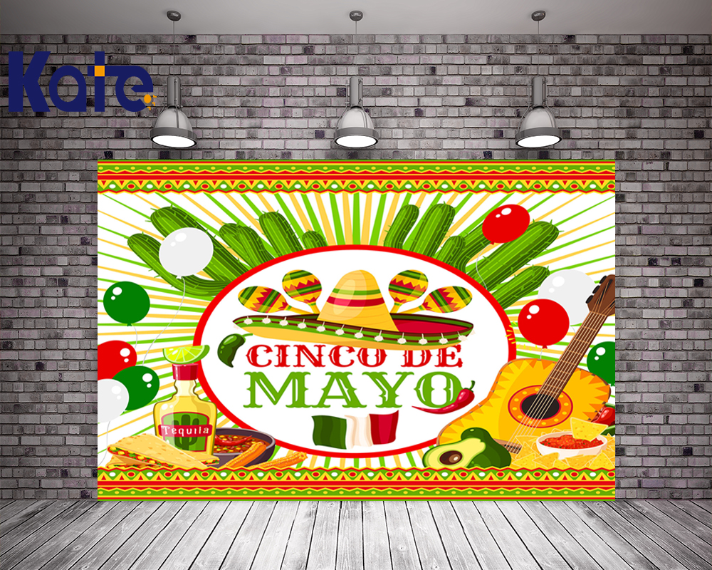 KATE 5x7ft Photo Background Mexico Cinco de Mayo Photo Straw Hat and Cactus Backdrops for Celebration Guitar Children Background kate photo background scenery
