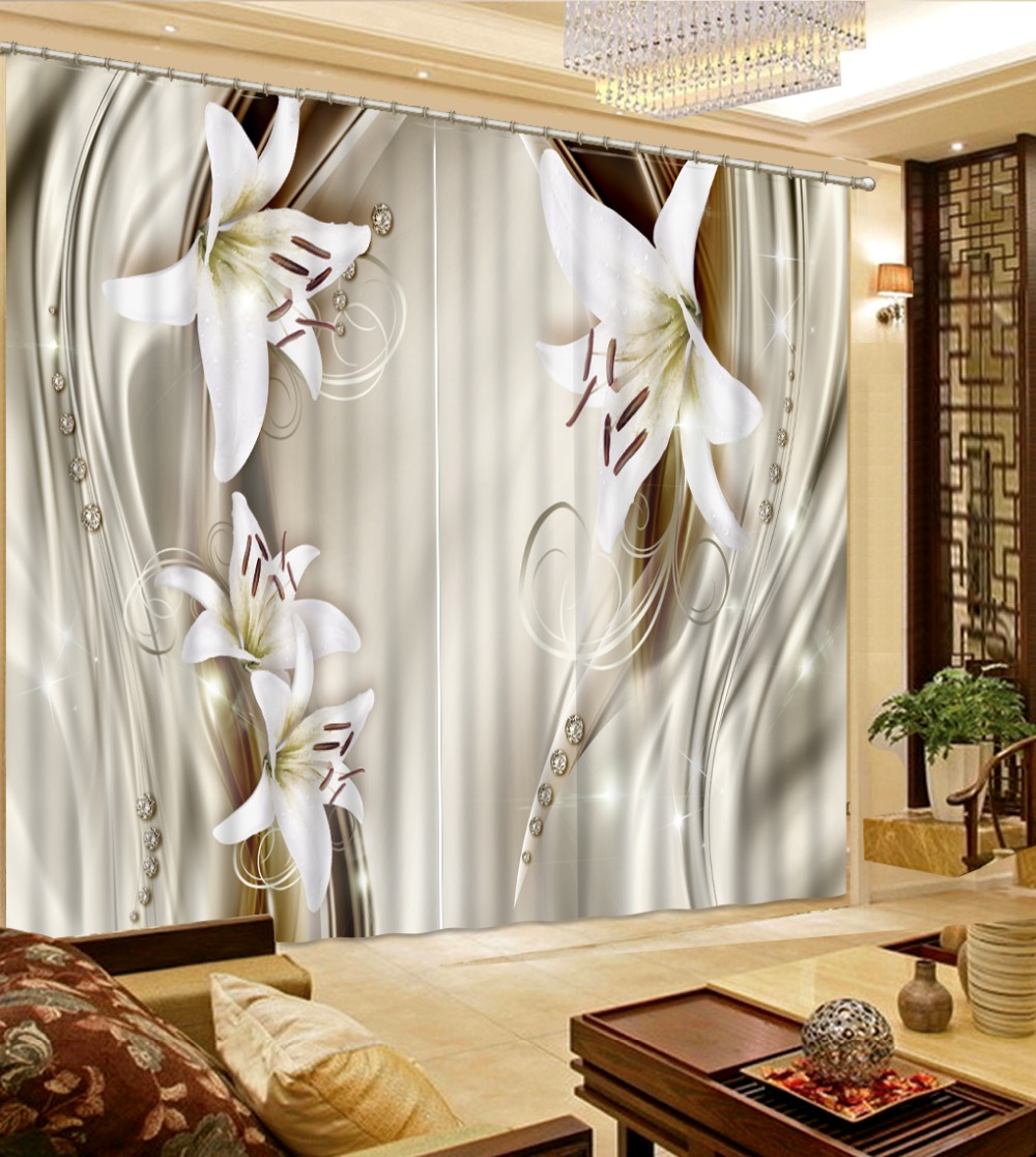 3D Blackout Window Curtains For Kids Bedding room Living room Hotel Drapes Cortinas relief 3d flower fashion decor in Curtains from Home Garden