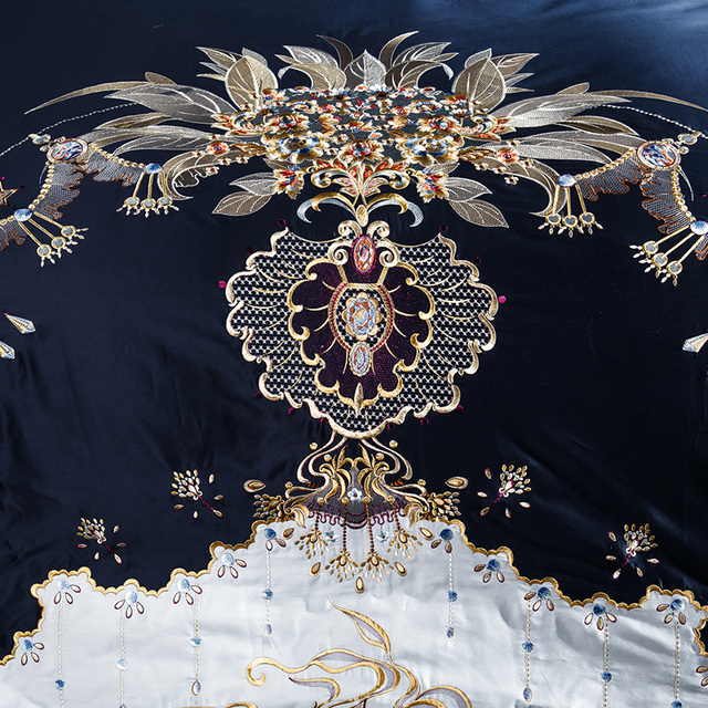 1000TC Egyptian cotton Blue Purple Bedding Set  Luxury Queen King size Bed sheet set Embroidery Duvet cover parure de lit adulte 3