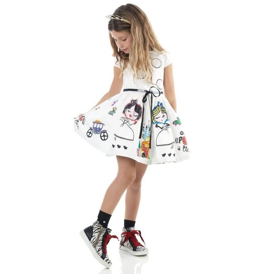 Girls Summer Dress Kids Clothes 2016 Brand Baby Girl Dress with Sashes Robe Fille Character Princess Dress Children Clothing