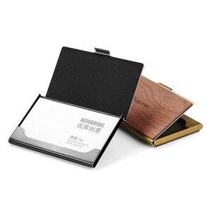 Image 5 - NewBring Mini porte cartes professionnelles en métal en bois mince porte carte didentité de crédit bancaire poche avant pour cadeau