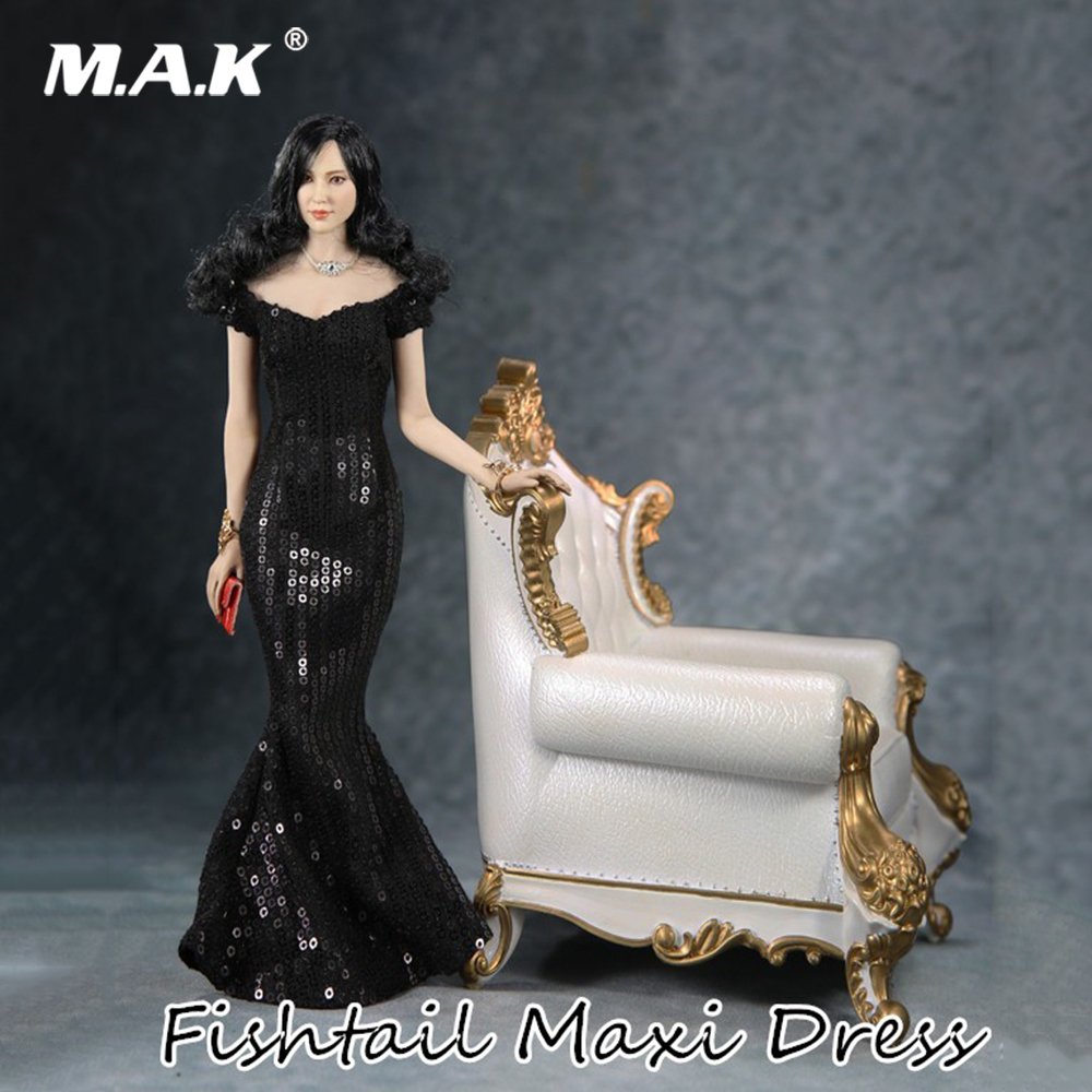 Collectible FT008 1/6 Scale Female Clothes Black Fishtail Maxi Dress With handbag Model for Woman Action Figure Body