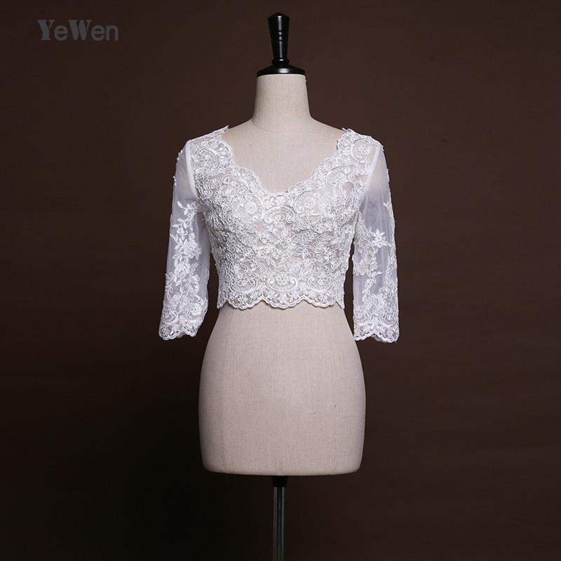 High Quality Half Sleeves v neck bolero women Bridal Wedding Wraps Bolero mariage jacket for evening dresses capes 2018
