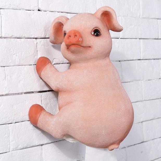 Salle de bains mignon cochon porte-serviettes créatif européen salle de bains toilette rouleau titulaire papier Cassette titulaire résine cochon pompage plateau décor