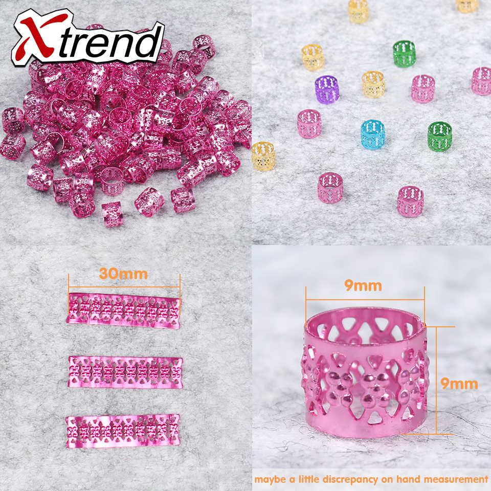 100 шт/партия Xtrend модные бусины для дредов Регулируемые кольца для волос косички кольца для дредов Алюминий Металл мульти 9 цветов