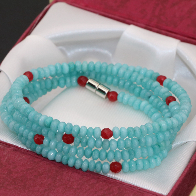 Original design faceted abacus 4 rows long multilayer bracelets for women 2*4mm amazonite stone magnetic clasp jewelry B2774