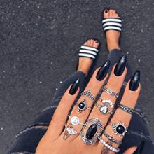 12 Pcs/set Bohemian Vintage Women Fashion Rings Oval Gems Crown Geometric Crystal Carved Silver Finger Ring Set Jewelry Gifts