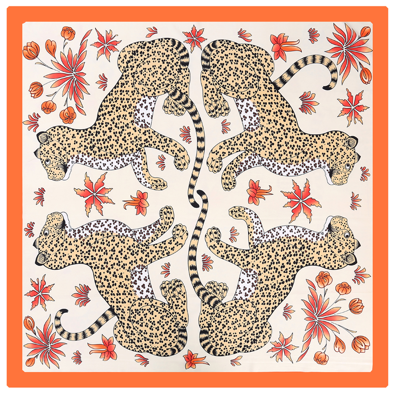 POBING 100% Silk Scarf Women Square Scarves Wraps FOUR Leopard Print Neckerchief Female Foulard Stain Silk Hijab Large Bufandas