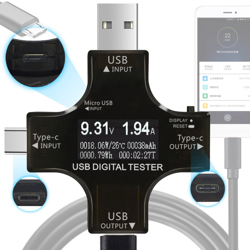 12 in 1 Typ-C PD USB tester DC Digital voltmeter strom spannung meter amp volt amperemeter detektor power bank ladegerät anzeige