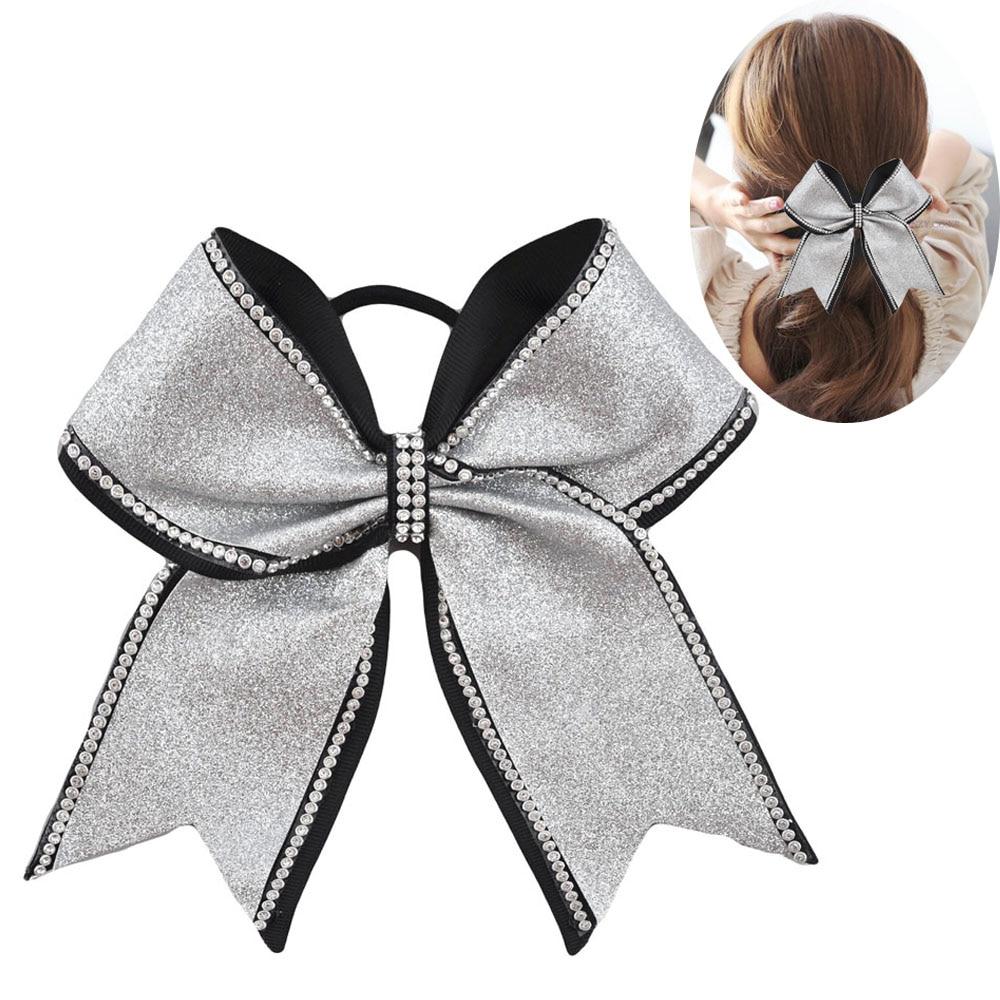 2017 Новые девушки луки для волос 8 дюймов rhinestone bling дети популярные черлидинг луки для детей девушка эластичная резинка для волос