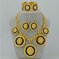 DOS COLORES Joyería conjunto Chapado En Oro Amarillo Grande de África leones León Collar Pulsera Pendientes para Las Mujeres, Etíope de Oro Conjuntos #051106