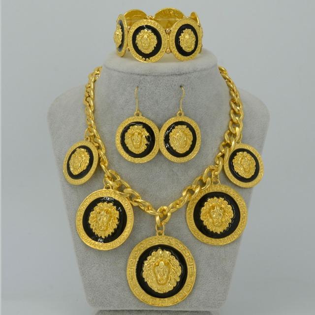 DUAS CORES Leão Colar Pulseira conjunto de Jóias de Ouro Amarelo Chapeado Grandes leões da África Brincos para As Mulheres, Conjuntos de Ouro Etíope #051106