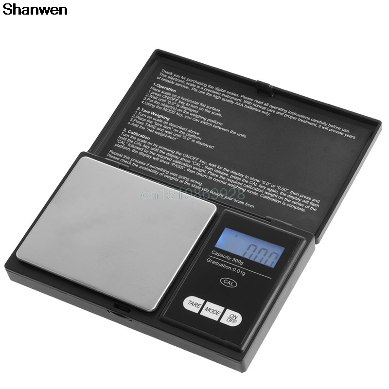 Mini Digital Scale 300g/0.01g LCD Electronic Gold Jewelry Pocket Gram Weight New