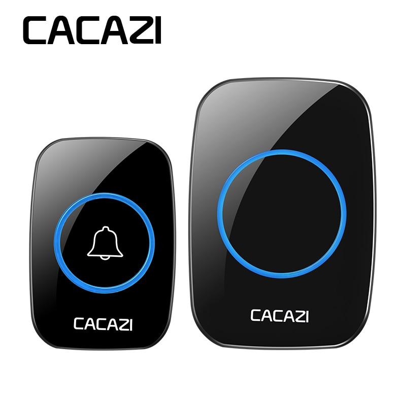 CACAZI inalámbrico timbre impermeable remoto 300 m hogar inteligente 38 canciones UK US EU Plug puerta anillo Mini Control remoto batería 12 V