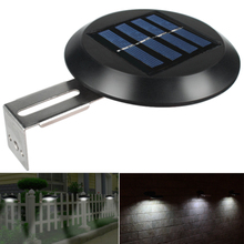 9 LEDs Yard Solar Powered Pathway Fence Home Gutter Grille Light Outdoor Garden Night Waterproof Wall Mount Sink Round