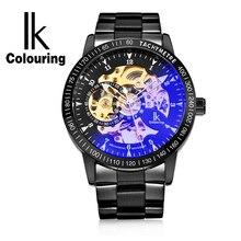 IKColouring יוקרה זהב Mens שעון אוטומטי שלד מכאני שעוני יד אופנה מקרית נירוסטה Relogio Masculino