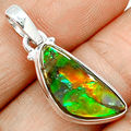 Genuine Canada Ammolite Pendant 100 925 Sterling Silver Jewelry 32mm AP1156