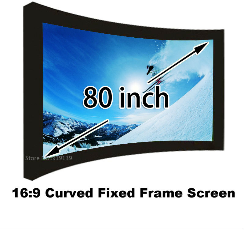 16:9 Cinema Black Velvet Curved Fixed Frame Projector Screen 80 Inch 3D Projection Screen Best For Home Theater low price 92 inch flat fixed projector screen diy 4 black velevt frames 16 9 format projection for cinema theater office room