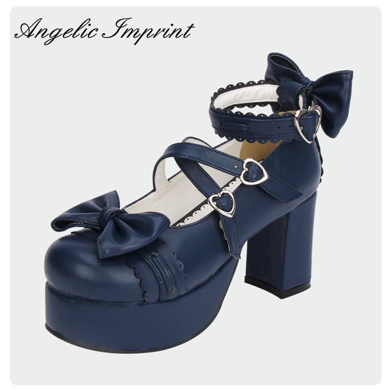 8cm High Heels Royal Blue Square Heel Platform Cosplay Shoes Lolita Sweet Lady Pumps цена