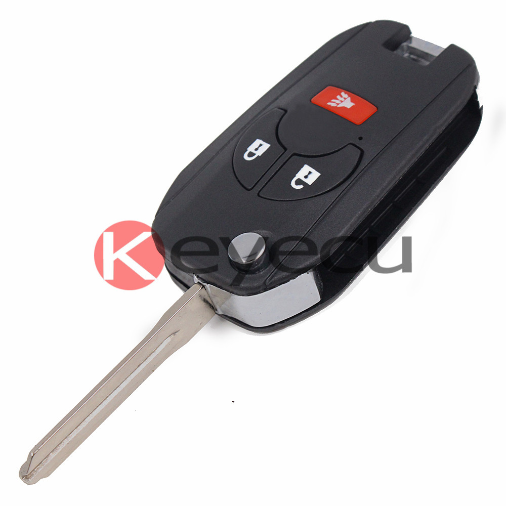 3pcs lot flip shell remote key case fob 2 1 button for nissan maxima
