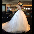 Nova Tulle Apliques Completo Manga vestido de Baile Vestido de Casamento vestido de noiva Vestido de Noiva Robe De Mariage vestidos de casamento vestidos de casamento Hot