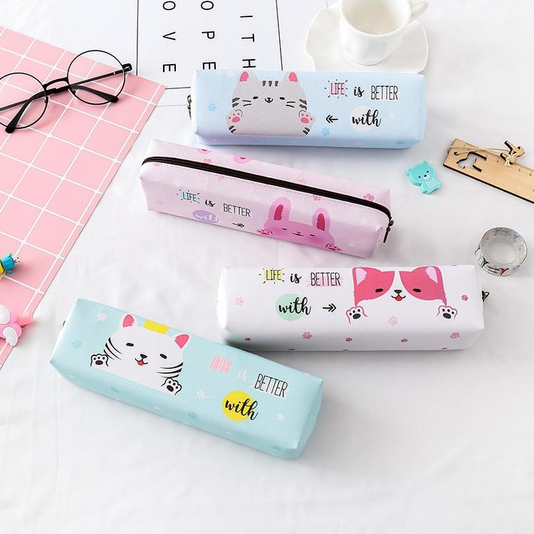 Cute cartoon animal pencil case kawaii cute pet pen box student school office stationery