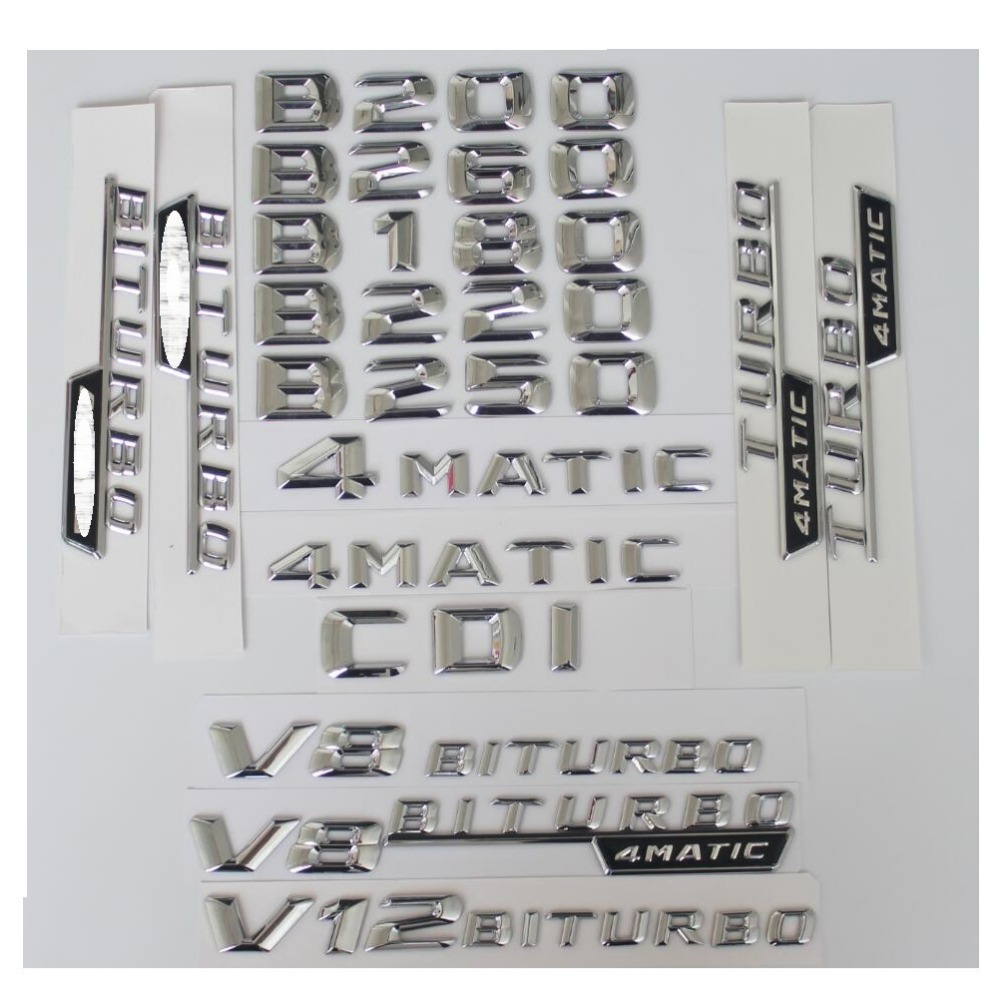3D Chrome Trunk Letters Badge Emblem Emblems for <font><b>Mercedes</b></font> Benz <font><b>W246</b></font> W242 B180 <font><b>B200</b></font> B220 B250 B260 V8 BITURBO AMG 4MATIC CDI image