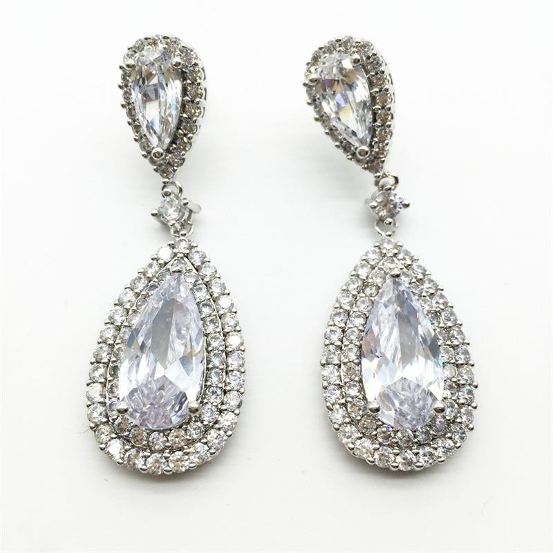 Luxury Zircon Big Waterdrop Heavy Drop Earrings Sparkling ...