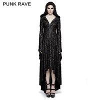Панк рейв для женщин Вечеринка Платья для готика, вампир ведьмы косплэй черное платье с капюшоном асимметрия Черный платья длинным рукавом