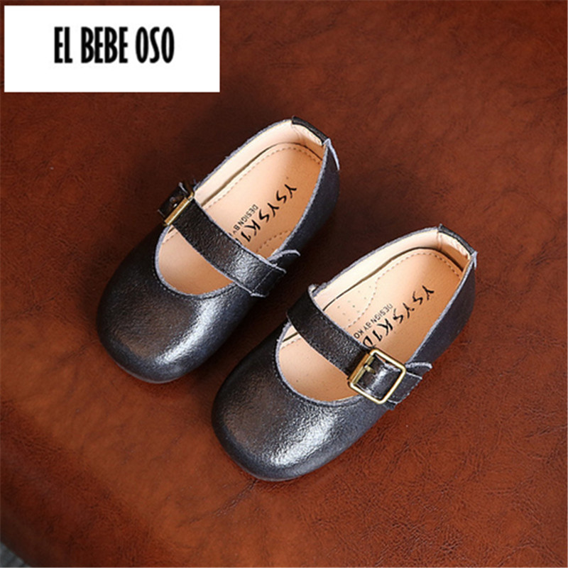 EL BEBE OSO Spring Kids Girls Genuine Leather Princess Dress Shoe Slip-on Children Sneakers Shoes For Little Girl Size 21-30