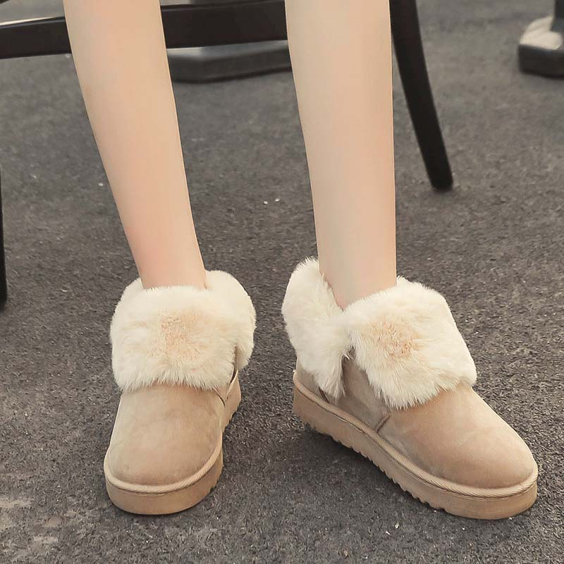 Fashion Ladies Snow Boots Thickened Plush Suede Female Ankle Boots Bottom Flat Warm Waterproof Women Snow Cotton Shoes 2017 thickened graffiti zippers women short snow boots female cotton winter shoes fashion design warm flock page 2